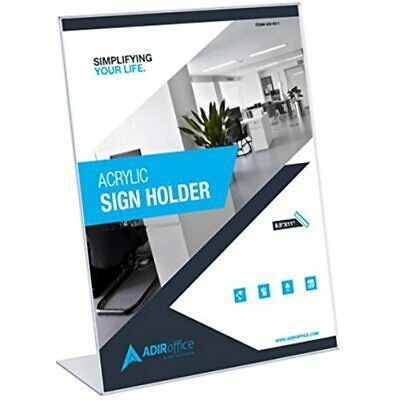 Adir 639-8511-06 Plexi Acrylic 8.5&quot X 11&quot Single Slant Back Design Sign