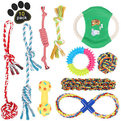 Dog Toys Aggressive Chewers Puppy chew Toys for Dogs Rope Dog Toy - Set of 10