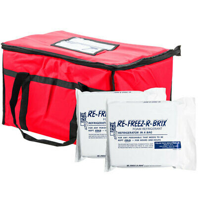 Insulated Food Delivery Bag /Pan Carrier , Red Nylon, 23  x 13  x 15
