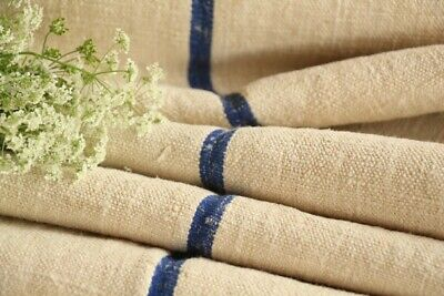 TP 601 antique french linen roll cornflower blue stripes washed
