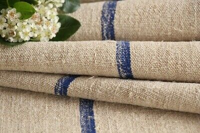 TW 569 antique french linen roll cornflower blue stripes washed