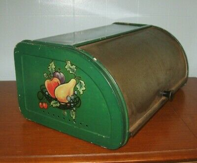 Vintage Metal Tin Bread Box, Roll Top, Painted Green, Fruit Decal, USA