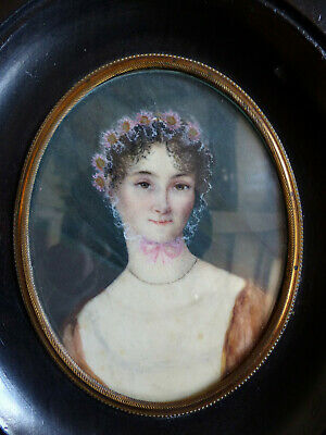 LARGE ANTIQUE EARLY 19th CENTURY ELEGANT LADY MINIATURE PORTRAIT 1830's