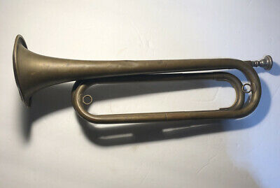 """Antique Brass Bugle 16"""" Patina Decorative Instrument Taps Early 1900's Military"""
