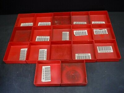 "Used Lot of 17 Lista PB-7 6"" x 6"" x 1 3/4"" Plastic Drawer Bins Cups 9F"