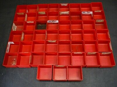 "Used Lot of 51 Lista PB-5 3"" x 3"" x 1 3/4"" Plastic Drawer Bins Cups 9F"