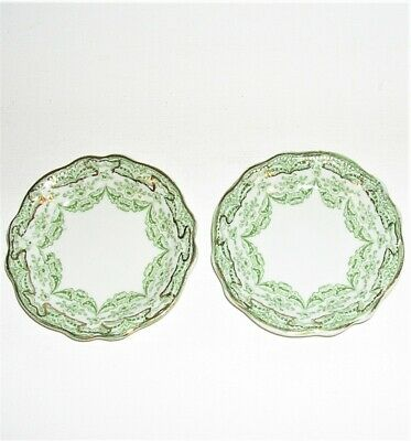 """Pair of Victorian Antique China 3 1/8"""" Butter Pats Green Ironstone w/ Gold Trim"""