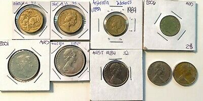 Australian 9 Coin Lot, $2, $1,20C,10C. Awesome collection Fillers! AU Condition!
