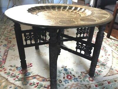 Large Antique Fully Carved Folding Coffee Table with Stunning Brass Tray Top D78