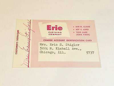 Vintage Erie Clothing Company Charge Account Identification Card