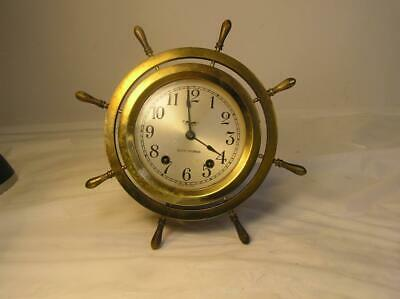 Antique Seth Thomas Brass 8 Day Ship's Clock-7 Jewels-Missing Key-Not Working