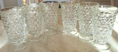 Set Of 6 Fostoria American Footed Water Goblets Cube Design Holds 10 Ozs
