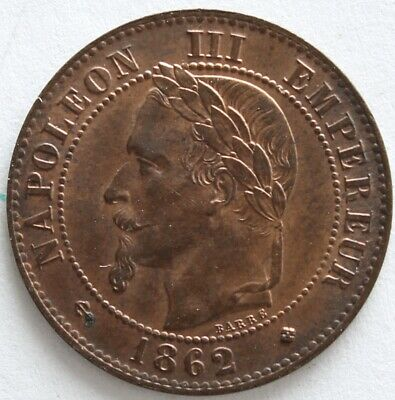 France 2 Centimes Napoleon Iii 1862 Bb  F.108A