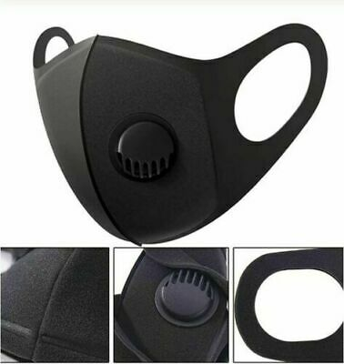 Black Face Cover Protection With Air Purifier Valve Washable And Reusable Uk