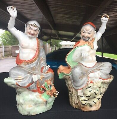 Rare Old Chinese Enameled Porcelain Deities w Dragon Tiger Figure Statue Pair