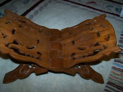 Vintage Hand Carved Wood Folding Book Holder Bible Koran Stand, India Large