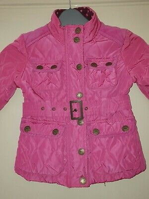 Next Pink Quilted Belted Jacket 3-4 Years