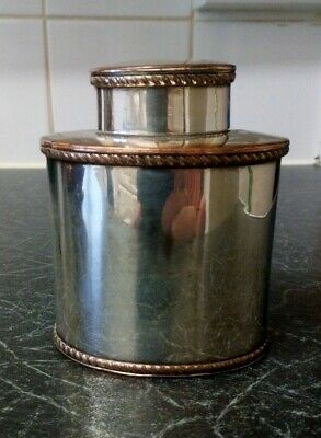 Vintage Silver Plated On Copper Tea Caddy