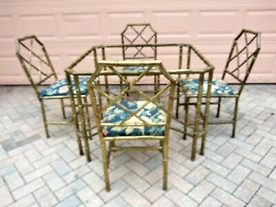 Brass Faux Bamboo Chairs & Table  Mid Century Modern Hollywood Regency Italy