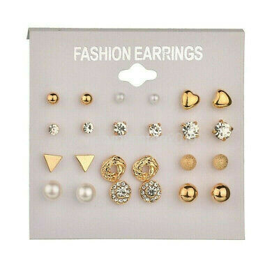 A set 12 Pairs Gold Earrings Different Style Ear stud Allergy Free Wholesale