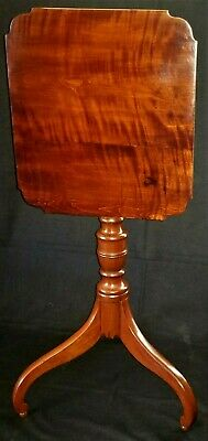 """Candlestand, Sheraton, figured/curly cherry, New England, c1830, 15""""w"""