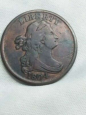 1804 Draped Bust Half Cent. C-6 R2,  Spiked Chin.