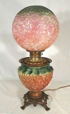 A Wonderful Victorian Gwtw Lamp With Matching Embossed Daisies Base And Shade