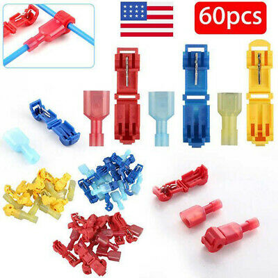60Pcs Insulated 22-10 AWG T-Taps Quick Splice Wire Terminal Connector Combo Kit