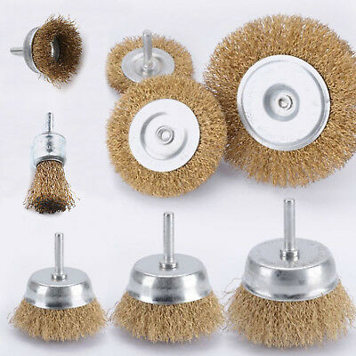 New 5 pack Brass Wire Brush Wheel Cup Drill Attachments Edges Rust Removal.