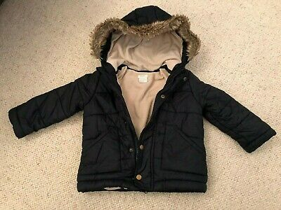 Mamas and Papas Coat - Parker - Blue with (faux) Fur Hood - Age 3 - 4 Years