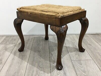 19thC  * Stunning Antique STOOL * Cabriole Legs * Pop In Seat For Reupholstery