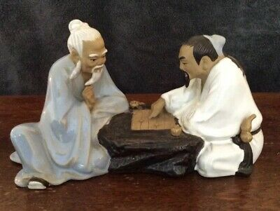 Vintage Large Shiwan Chinese Mud Men Playing A Board Game Figurine.