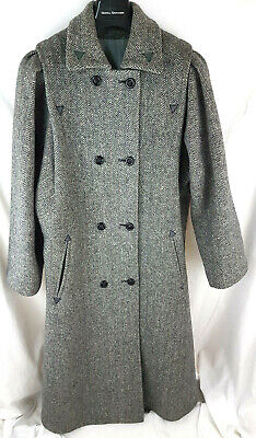 Vintage Herringbone Wool blend Ladies long Coat UK 14 Pea coat style Good