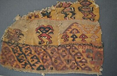 Pre columbian Art Fine Chancay Ancient Textile Fragment circa 1100 -1400 AD Peru