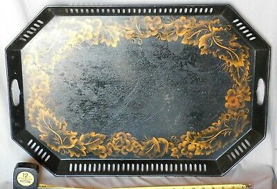 Antique Large Tole Tray Octagonal Victorian Hand Painted Gilt Flower Gold gilded