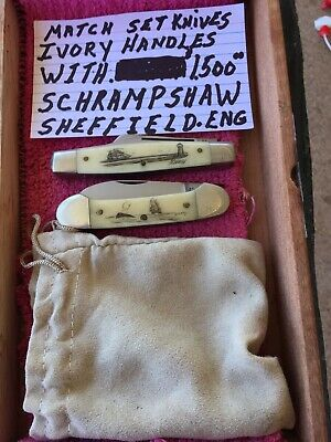 Set Of Two Ivory Handle Schrampshaw , Sheffield England Knives