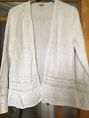River Island White Cotton Age 11/12 Girls Jacket With Pearls