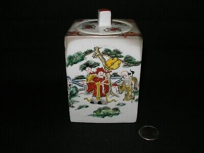 Antique (?) Chinese Porcelain Hand Painted & Signed Tea Caddy (Holder)
