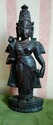 """Vtg Thailand Asian Woman Standing Hand Carved Wooden Figure 9"""" Tall ID0478 B30"""