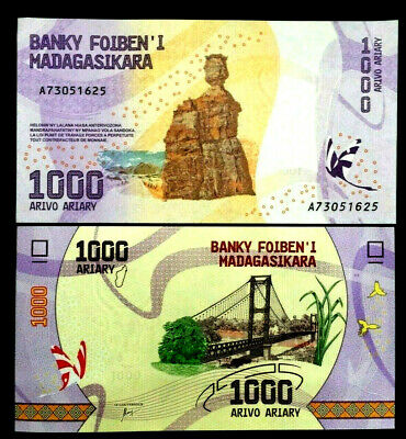 Madagascar 1000 Ariary Banknote World Paper Money UNC Currency Bill Note
