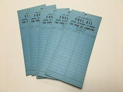 RARE 1950's PURE OIL COMPANY FUEL OIL TANK TAG RECORD COLUMBIA SOUTH CAROLINA