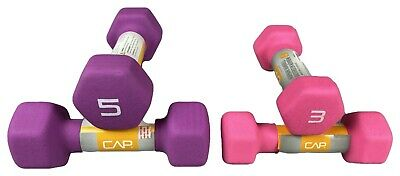 CAP Hex Neoprene 3 + 5 lb Pound Pair Dumbbell Gym Training Exercise Weights Set