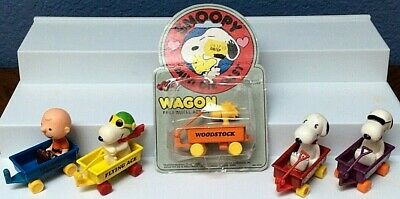Vtg 1977  Flying Ace Woodstock Lot of 5 Snoopy Peanuts Aviva Die Cast Wagon Toy