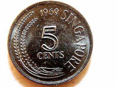 1969 Singapore Five (5) Cents Coin