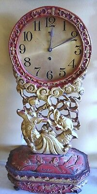 "8 1/2"" Chelsea Clock 1917 Chinoiserie Style 22"" Tall Clock."