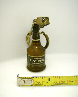 Vintage 70's Seagrams Benchmark Bourbon Keychain with Metal chain & Ring