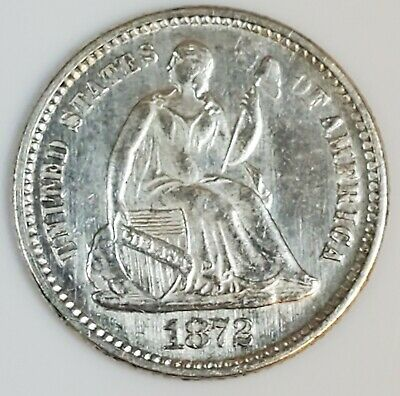 1872 Seated Liberty Half Dime 5c with AU/BU Details
