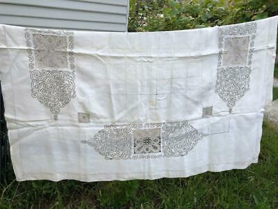 """Vintage Madeira Linen Tapelace - EMBROIDERED TABLECLOTH - Art Deco 54X57"""""""