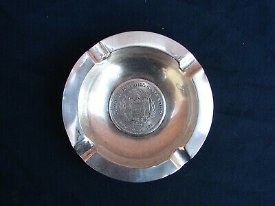 Antique Republica Del Salvador 900  Cam 1911 Silver Coin Ashtray