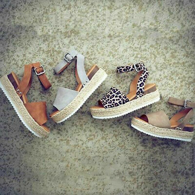 Spanish Espadrilles Wedge Platform Ankle Strap Ladies Sandals Shoes for Summer